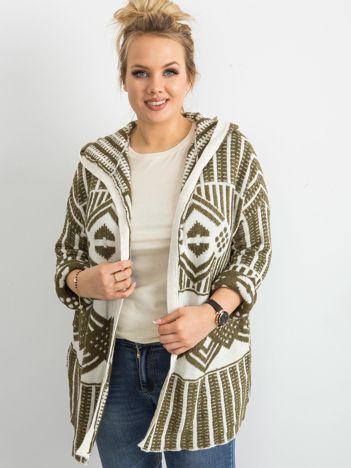 Khaki sweter z kapturem PLUS SIZE