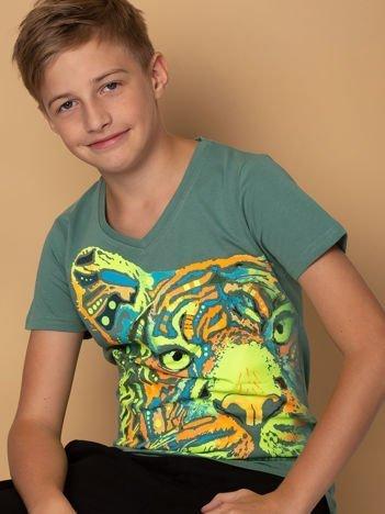 Khaki t-shirt chłopięcy z tygrysem