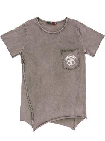 Khaki t-shirt dziecięcy z surowym wykończeniem i nadrukiem z tyłu