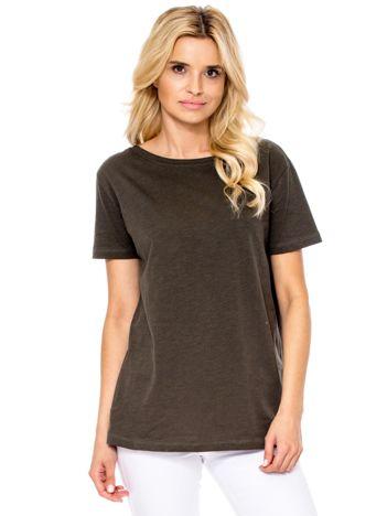 Khaki t-shirt z głębokim dekoltem z tyłu