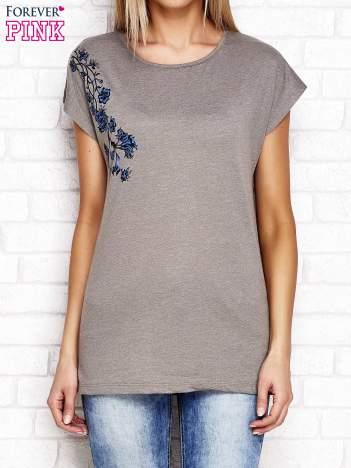 Khaki t-shirt z motywem kwiatowym