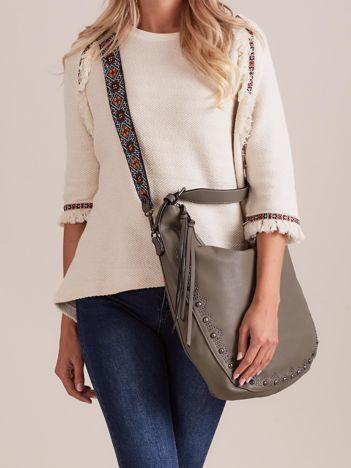 Khaki torba hobo z odpinanym paskiem