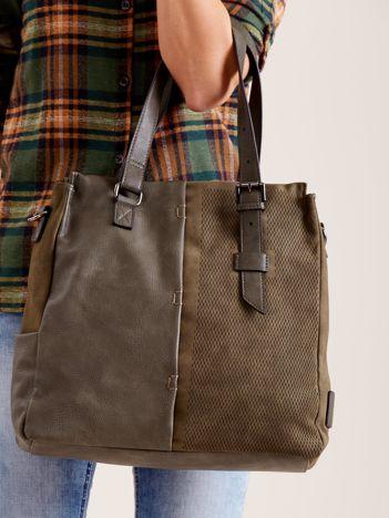 Khaki torba na ramię z łączonych materiałów