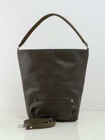 Khaki torba shopper z eko skóry