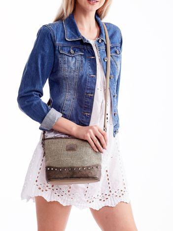 Khaki torebka listonoszka z plecioną wstawką