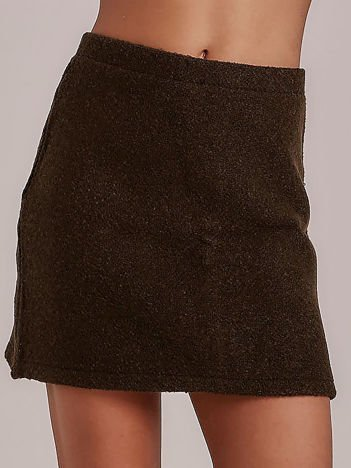 Khaki trapezowa spódnica bouclé