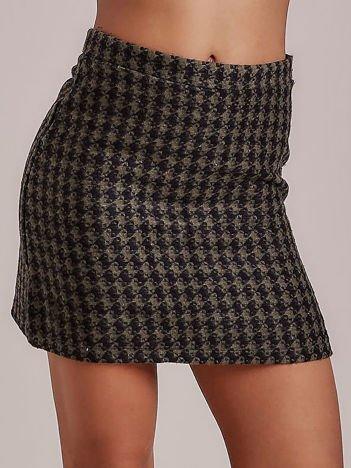 Khaki trapezowa spódnica w pepitkę