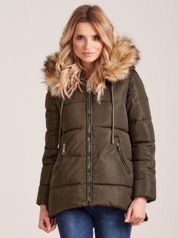 Khaki zimowa kurtka z futerkiem