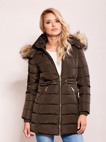 Khaki zimowa kurtka z kapturem