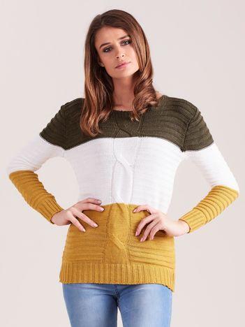 Khaki-żółty sweter w szerokie pasy