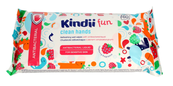 """Kindii Fun Chusteczki odświeżające dla dzieci z płynem antybakteryjnym  1op.-60szt"""""""