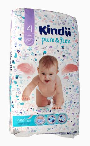 """Kindii Pure & Flex Pieluchy jednorazowe 4 (7-14kg)  1op.-54szt"""""""