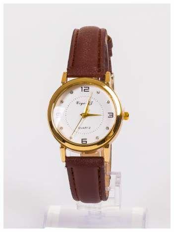 Klasyczny damski zegarek z ozdobnymi cyrkoniami na tarczy