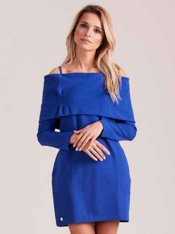 Kobaltowa sukienka cold arms z szeroką falbaną