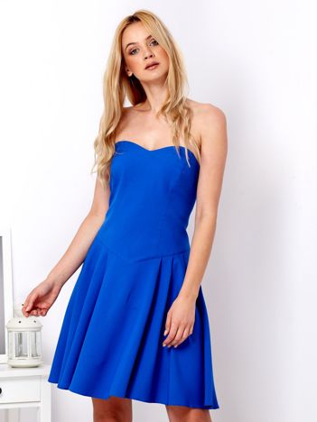 Kobaltowa sukienka damska z dekoltem serce