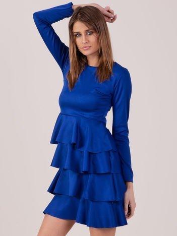 Kobaltowa sukienka z warstwowymi falbanami