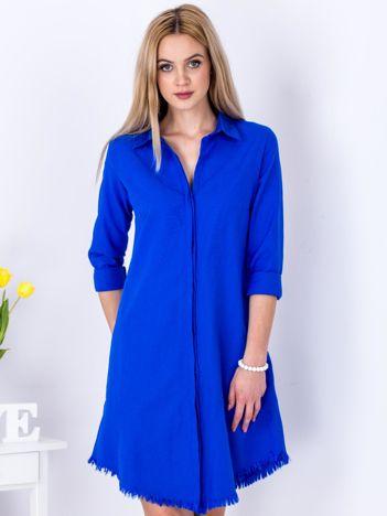 Kobaltowa sukienka zapinana na guziki