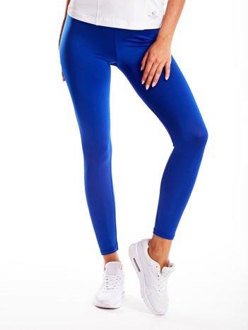 Kobaltowe długie cienkie legginsy do biegania