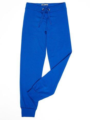 Kobaltowe dresowe spodnie dziecięce z troczkami