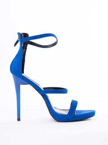 Kobaltowe sandały na szpilkach z suwakiem na tyle cholewki