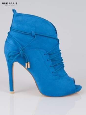 Kobaltowe wiązane botki faux suede Elsa lace up