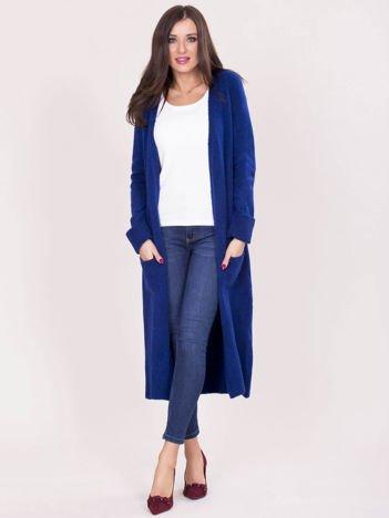 Kobaltowy długi sweter