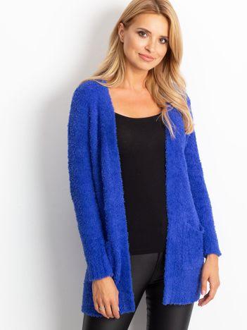 Kobaltowy sweter damski bez zapięcia