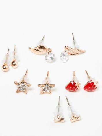 Kolczyki damskie złote zestaw 7 par z cyrkoniami truskaweczki, gwiazdki, skrzydełka