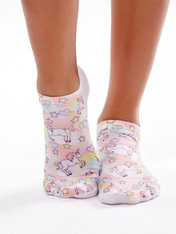 Kolorowe stopki damskie w pastelowe jednorożce