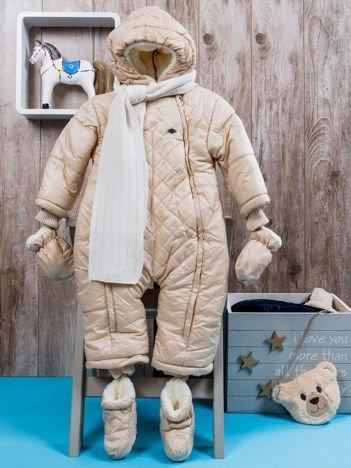 Kombinezon zimowy dla dziecka z futerkiem beżowy