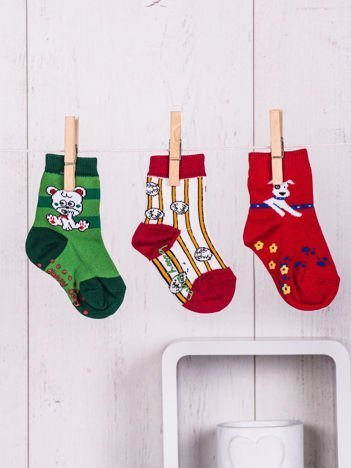Komplet 3-sztuki skarpetek z kolorowymi wesołymi nadrukami antypoślizgowych dla chłopca lub dziewczynki