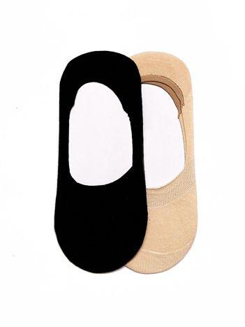 Komplet czarno-beżowe krótkie gładkie skarpetki stopki do balerinek 2-pak