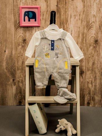 Komplet dla niemowlaka z czapeczką i bluzeczką szary