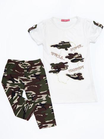 Komplet dziecięcy ecru tunika i długie spodnie moro