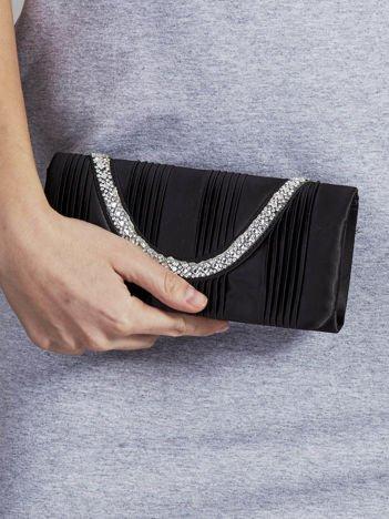 Kopertówka z biżuteryjnym paskiem czarna