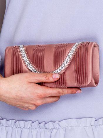 Kopertówka z biżuteryjnym paskiem pudroworóżowa