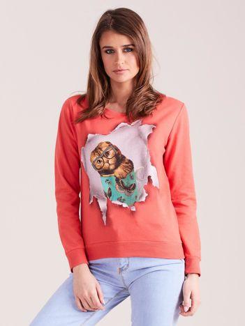 Koralowa bawełniana bluza z nadrukiem kota