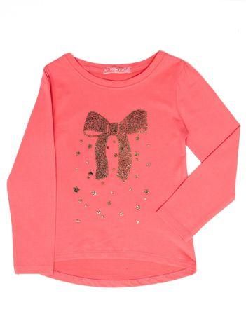 Koralowa bluzka dla dziewczynki z biżuteryjną kokardą