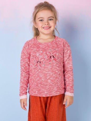 Koralowa melanżowa bluza dziewczęca z motylkami i cekinami