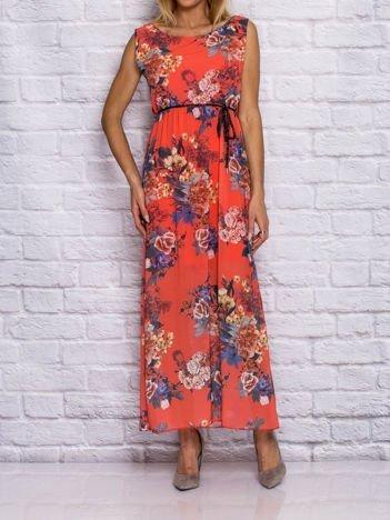 Koralowa sukienka letnia maxi w kwiaty