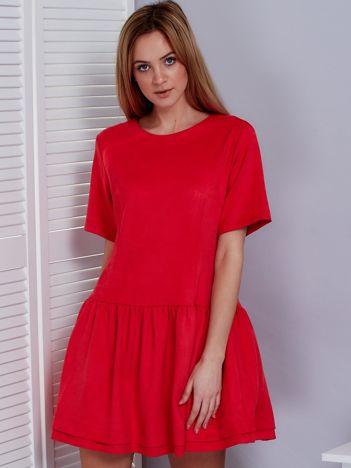 Koralowa zamszowa sukienka