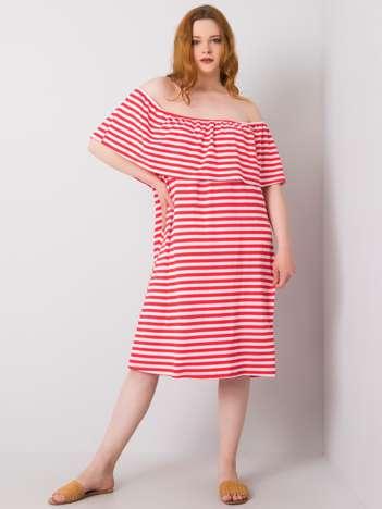 Koralowo-biała sukienka plus size w paski Annabel