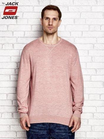 Koralowy melanżowy sweter męski