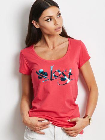 Koralowy t-shirt Lost