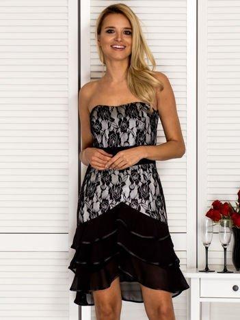 Koronkowa sukienka gorsetowa z falbankami czarna
