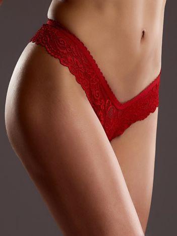 Koronkowe seksowne stringi czerwone