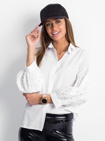 Koszula biała z perełkami na rękawach