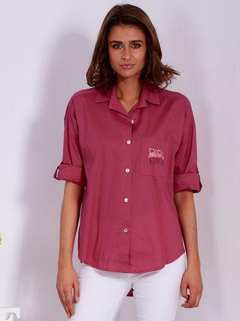 Koszula ciemnoróżowa z nadrukiem flamingów