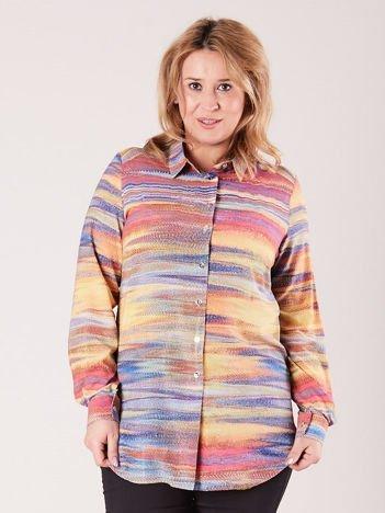 Koszula damska w kolorowe desenie PLUS SIZE