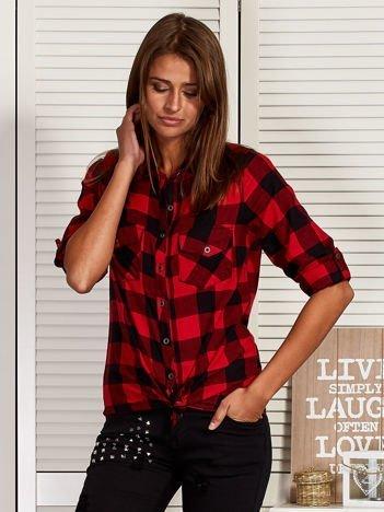 Koszula damska w kratę czerwona